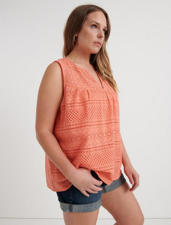 EYELET TANK TOP, PERSIMMON, productTileDesktop
