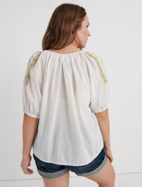 EMBROIDERED KELLY PEASANT TOP, MARSHMALLOW