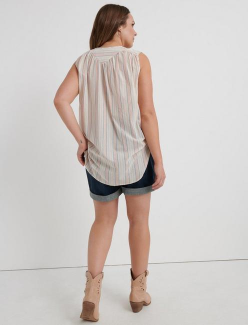 STRIPED SLEEVELESS SHIRT, MULTI