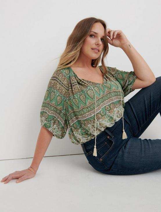 PRINTED KELLY PEASANT TOP, GREEN MULTI, productTileDesktop