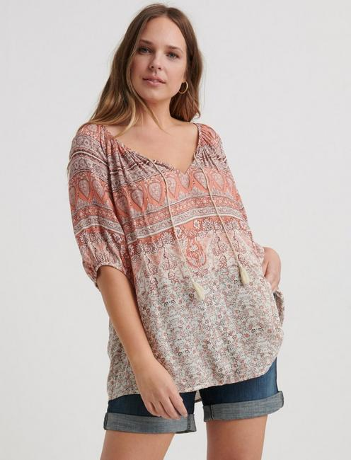 PRINTED KELLY PEASANT TOP,