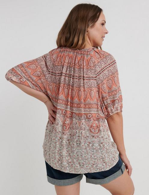 PRINTED KELLY PEASANT TOP, CORAL MULTI