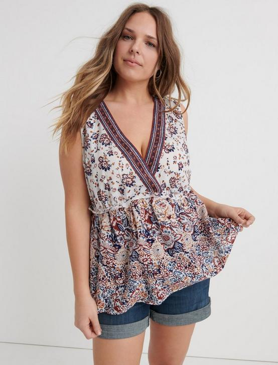 EMB SLEEVELESS ROMANTIC TOP, NATURAL MULTI, productTileDesktop