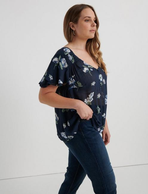 SMOCKED SHORT SLEEVE TOP, NAVY MULTI