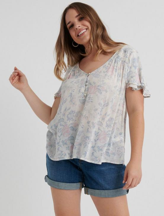 PRINTED SHORT SLEEVE TOP, MULTI, productTileDesktop