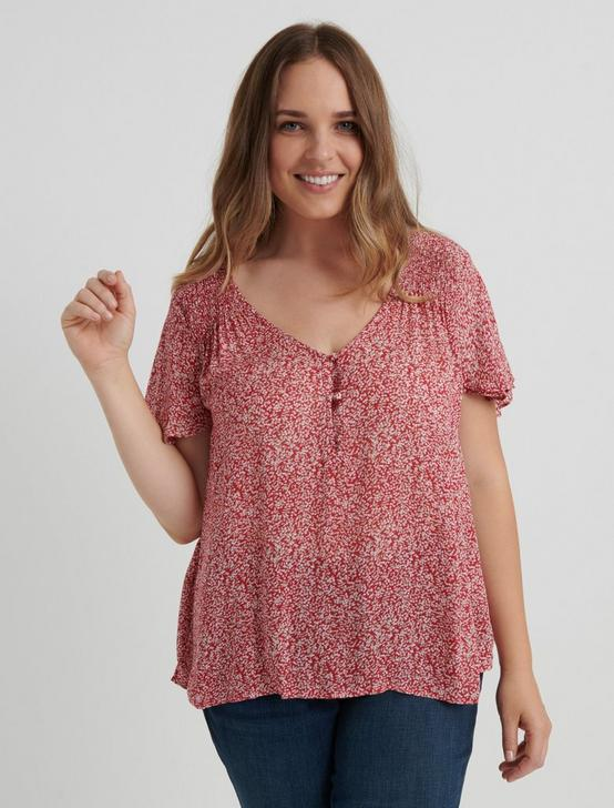 PRINTED SHORT SLEEVE TOP, PINK MULTI, productTileDesktop