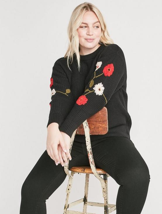 FLORAL EMBROIDERED SWEATER, BLACK MULTI, productTileDesktop