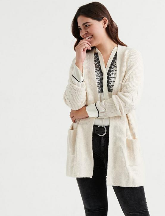 VENICE CABLE CARDIGAN, SNOW WHITE, productTileDesktop