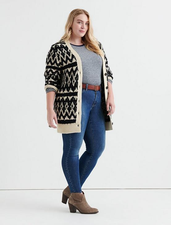 DIAMOND FAIR ISLE CARDIGAN, NATURAL MULTI, productTileDesktop