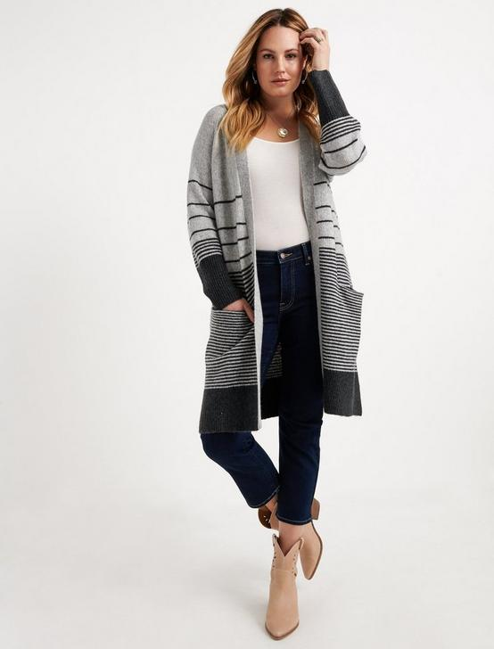 STRIPE DUSTER, GREY MULTI, productTileDesktop