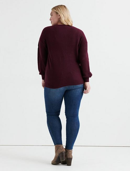 CABLE KNIT SWEATER, PLUM