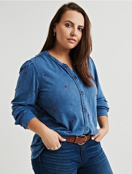 WASHED EMBROIDERED TOP, INDIGO, productTileDesktop