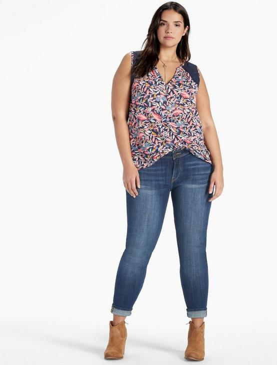 DELLA FLORAL SHELL TOP, NAVY MULTI, productTileDesktop