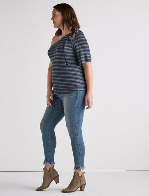 ONE SHOULDER STRIPE TOP, NAVY MULTI