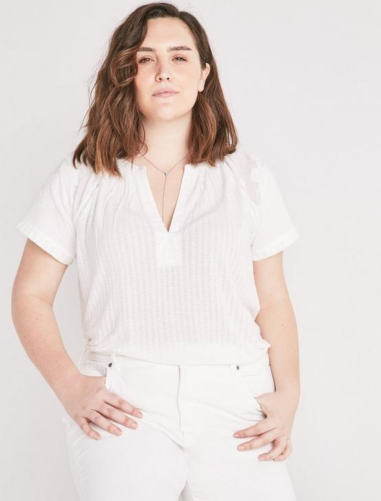 CUTOUT DROP NEEDLE BLOUSE, LUCKY WHITE, productTileDesktop