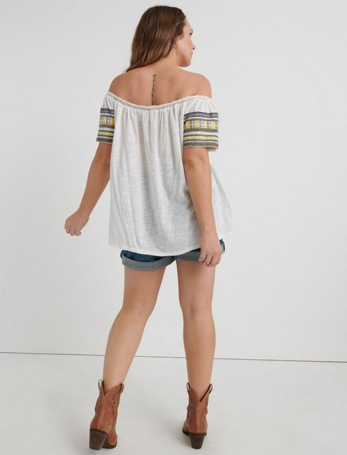 EMB. OFF THE SHOULDER, MARSHMALLOW