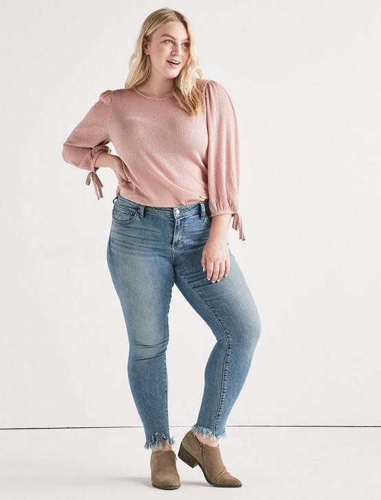 BALLOON SLEEVE TIE TOP, BLUSH, productTileDesktop