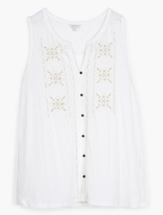 EMBROIDERED TANK, BRIGHT WHITE, productTileDesktop