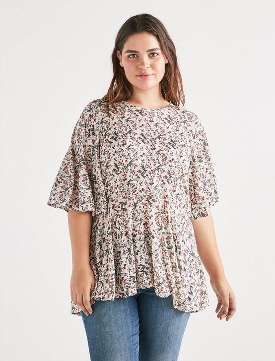 FLORAL FLUTTER SLEEVE TOP, MULTI, productTileDesktop