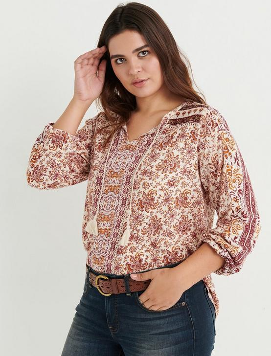 PRINTED PEASANT TOP WITH BEADING, NATURAL MULTI, productTileDesktop