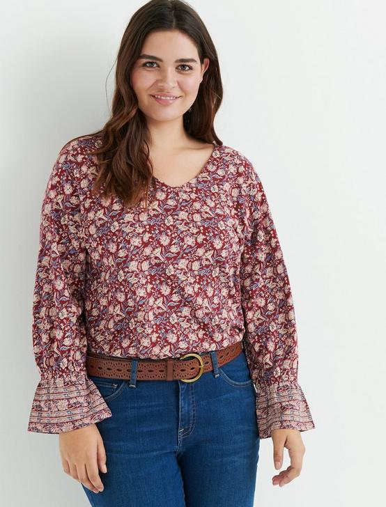 BORDER PRINT CINCHED SLEEVE TOP, RED MULTI, productTileDesktop