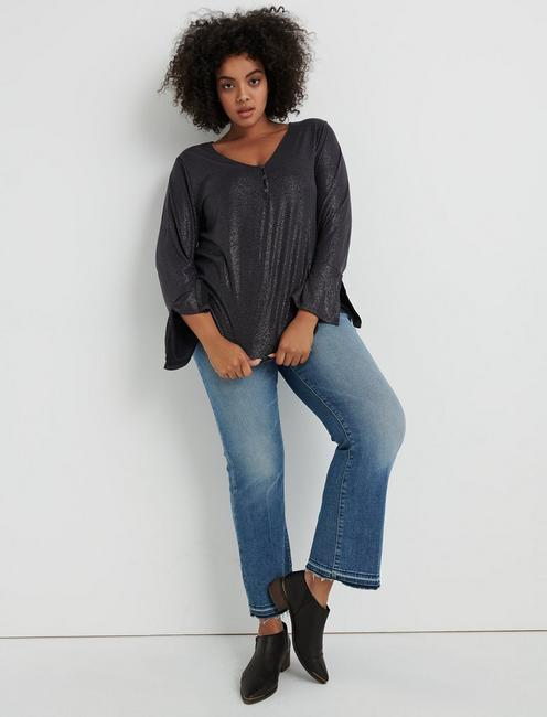 SAND WASH HENLEY TOP, 001 LUCKY BLACK