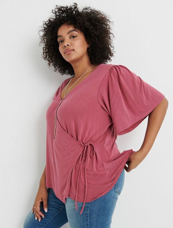SOLID SAND WASH WRAP TOP, RASPBERRY, productTileDesktop