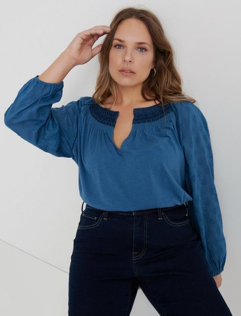893dd1ca5 Plus Size Shirts · Emb Peasant
