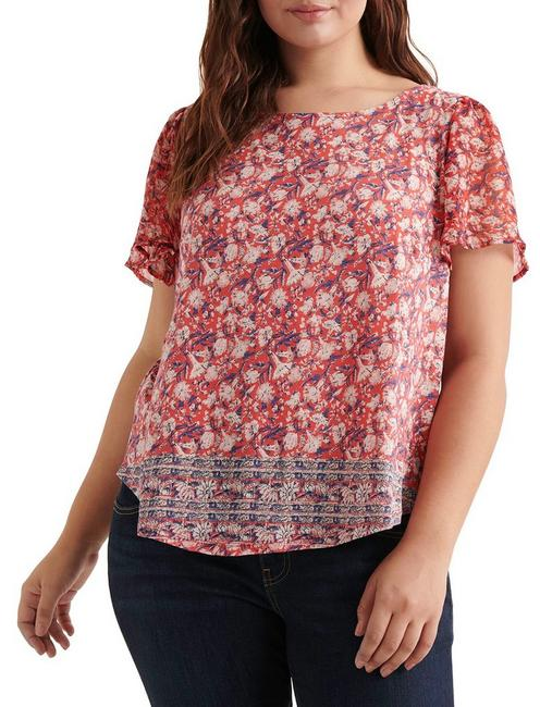 PRINTED WOVEN MIX TOP, RED MULTI