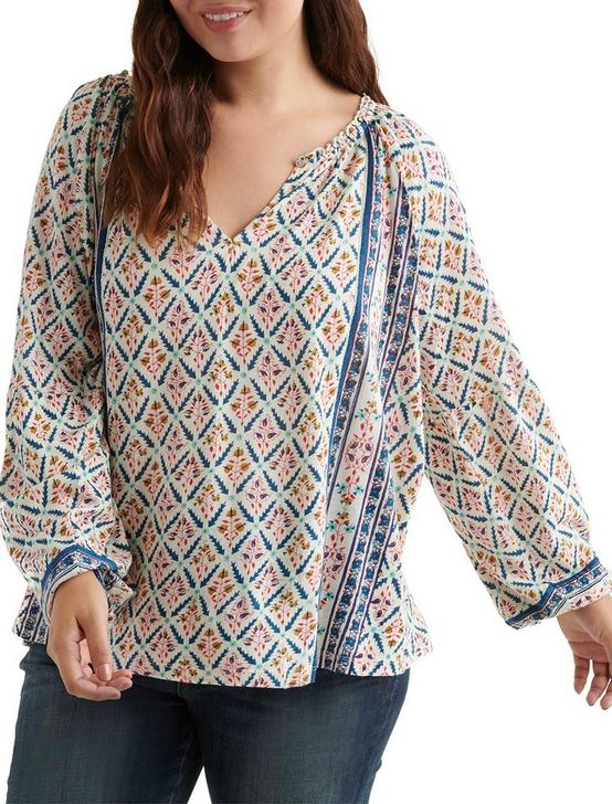 PRINTED AND SHIRRED TOP, MULTI, productTileDesktop