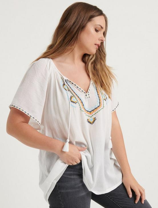 EMBROIDERED SHORT SLEEVE PEASANT TOP, MULTI, productTileDesktop