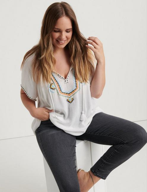 EMBROIDERED SHORT SLEEVE PEASANT TOP, MULTI