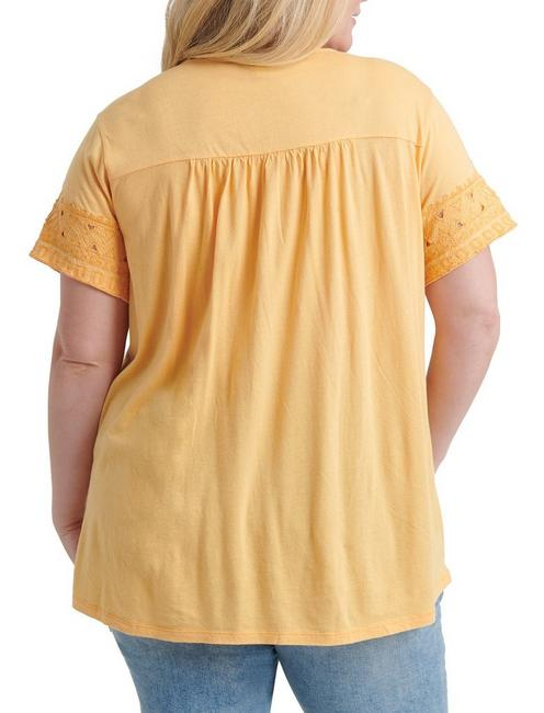 EMBROIDERED CUT-OUT TOP, GOLDEN GLOW