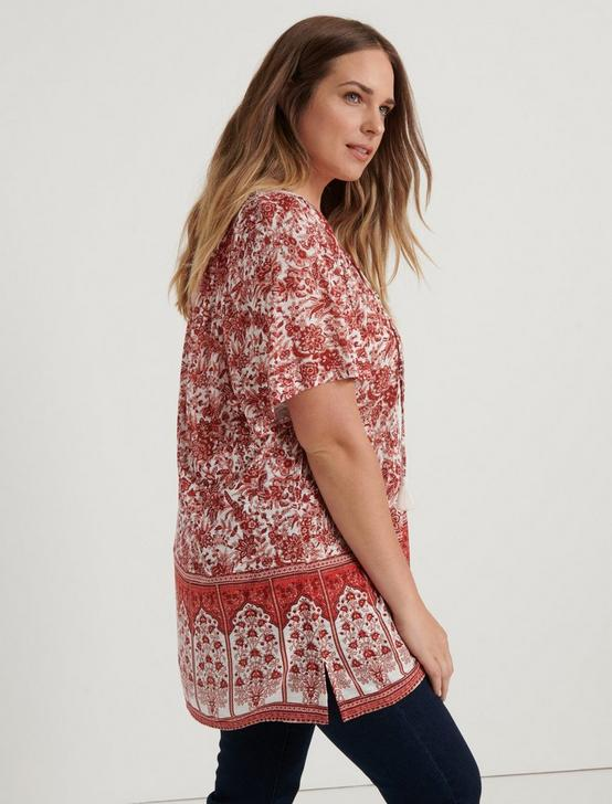 SHORT SLEEVE PRINTED TOP, NATURAL MULTI, productTileDesktop