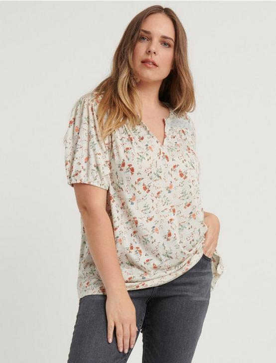 FLORAL PRINTED PEASANT TOP, NATURAL MULTI, productTileDesktop
