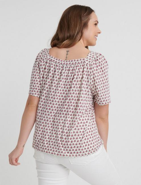 PRINTED TIE FRONT TOP, PINK MULTI