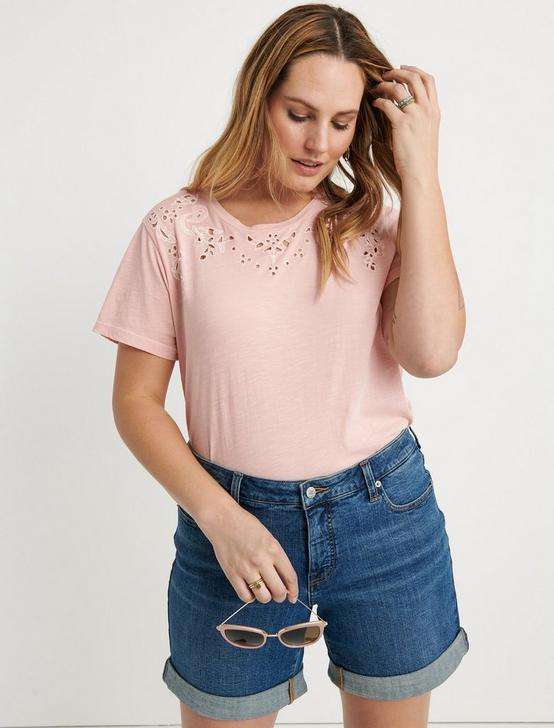 EMBROIDERED SOLID TEE, BLOSSOM, productTileDesktop