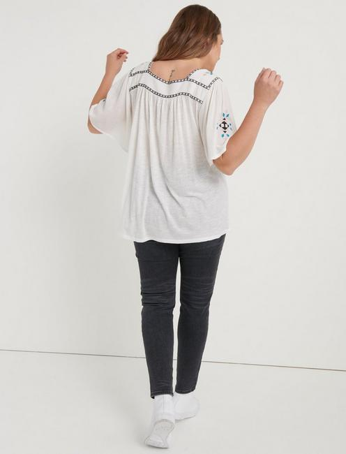 EMBROIDERED SQUARE NECK TOP, LUCKY WHITE