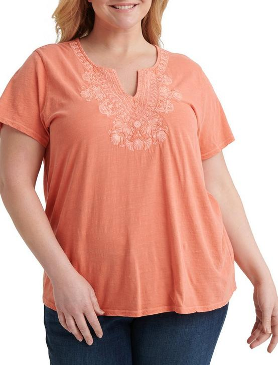 EMBROIDERED V-NECK SHORT SLEEVE TEE, #8386 PERSIMMON, productTileDesktop