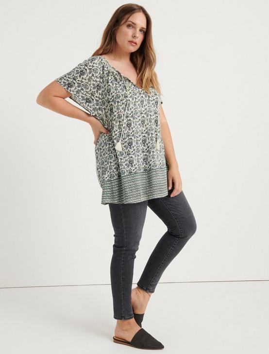 BORDER PRINT SMOCKED TOP, GREEN MULTI, productTileDesktop