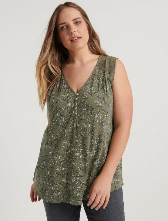 APPLIQUE HENLEY TOP, GREEN MULTI, productTileDesktop