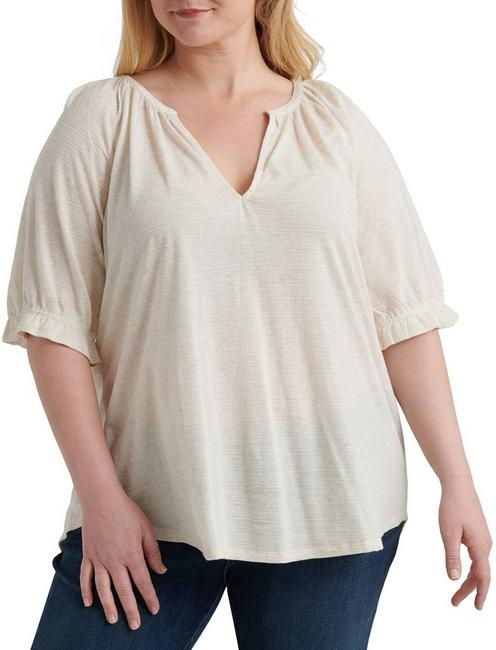 TEXTURED SHORT SLEEVE PEASANT, OATMEAL
