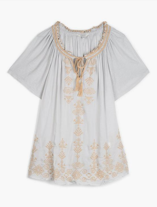 EMBROIDERED PEASANT TOP, ICE BLUE, productTileDesktop