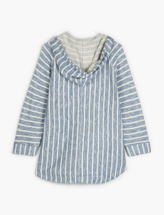 STRIPE HOODED PONCHO, BLUE MULTI, productTileDesktop