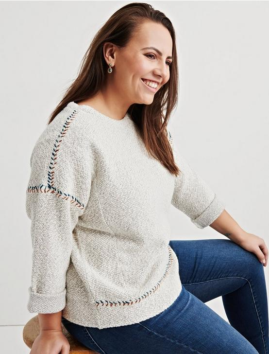 EMBROIDERED PULLOVER, NATURAL MULTI, productTileDesktop