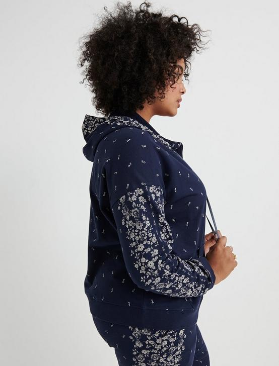 FLORAL PLACED HOODED ZIPUP, AMERICAN NAVY, productTileDesktop