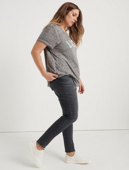 LUCKY RAINBOW TEE, HEATHER GREY