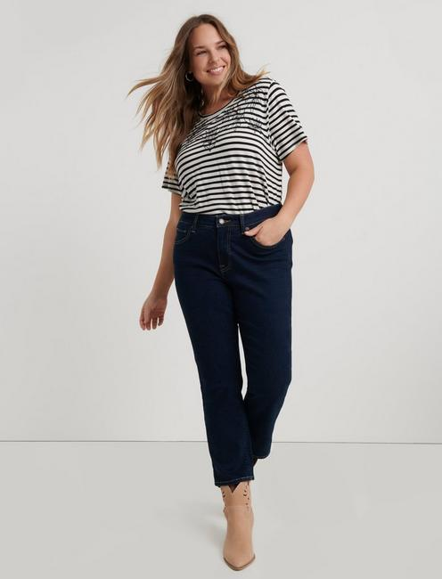 STRIPE EMBROIDERED TEE,