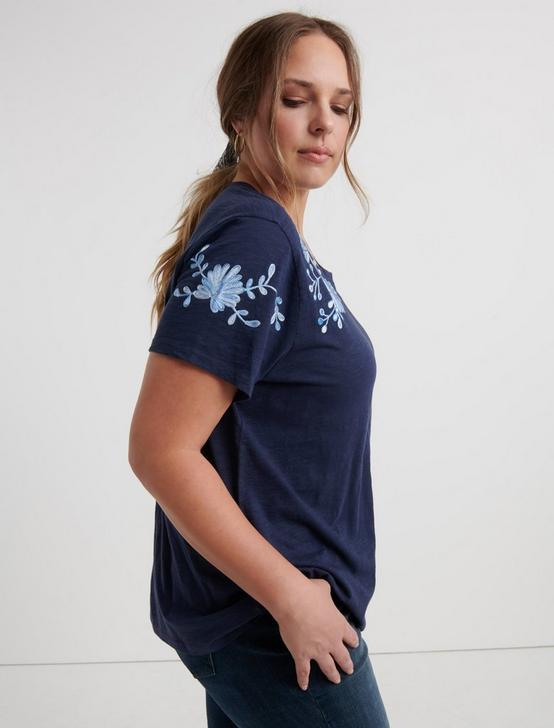 EMBROIDERED SHOULDER TEE, AMERICAN NAVY, productTileDesktop