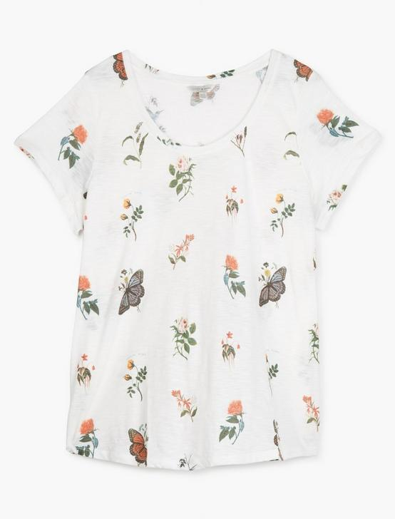 TOSSED BOTANICAL PRINT TEE, LUCKY WHITE, productTileDesktop